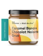 Caramel, banana, chocolate, hazelnut and caramel spread
