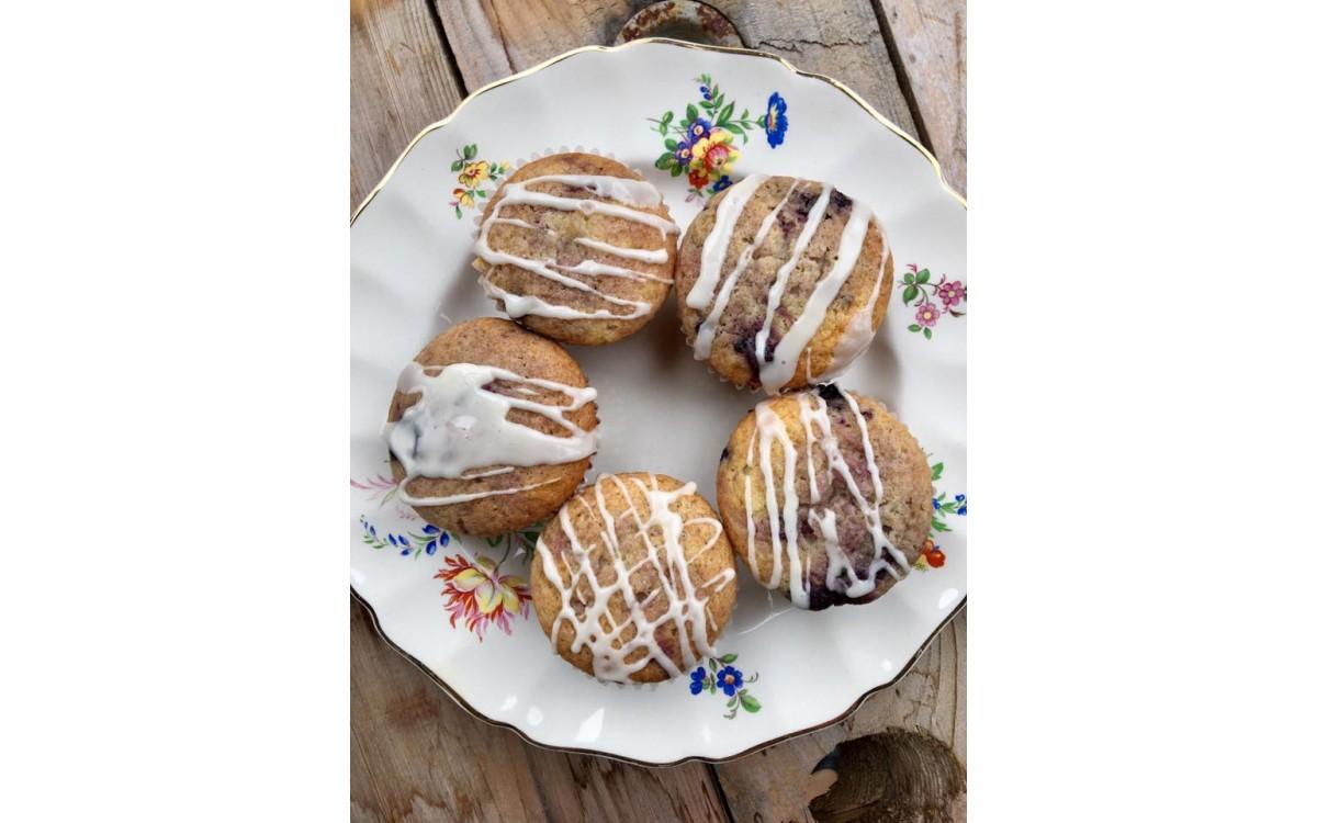 Orange and haskap berry muffins