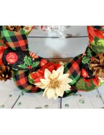 Christmas Braided Wreath    Holiday decoration    Holly, Plaid and Ornaments