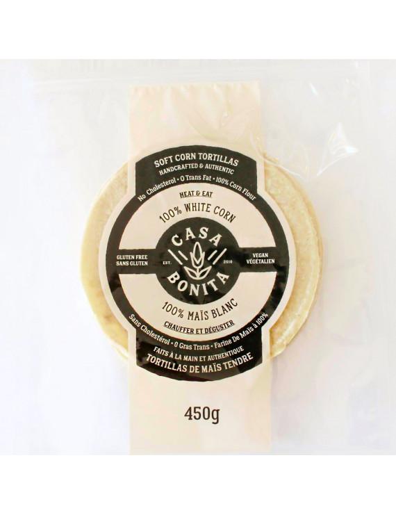100% soft white corn tortillas