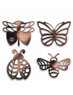 Insects Collection 4-Pcs Set - 3 in 1 Multifunction Gift – Coasters, Candle Holders, Hanging Ornaments - Solid Walnut Wood 6mm - Made in Canada