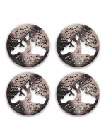 Tree of Life 4-Pcs Set - 3 in 1 Multifunction Gift – Coasters, Candle Holders, Hanging Ornaments - Solid Walnut Wood 6mm - Made in Canada