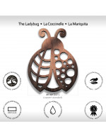 Ladybug 2-Pcs Set - 3 in 1 Multifunction Gift – Coasters, Candle Holders, Hanging Ornaments - Solid Walnut Wood 6mm - Made in Canada