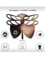 Dragonfly 4-Pcs Set - 3 in 1 Multifunction Gift – Coasters, Candle Holders, Hanging Ornaments - Solid Walnut Wood 6mm - Made in Canada