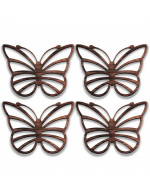 Butterfly 4-Pcs Set - 3 in 1 Multifunction Gift – Coasters, Candle Holders, Hanging Ornaments - Solid Walnut Wood 6mm - Made in Canada