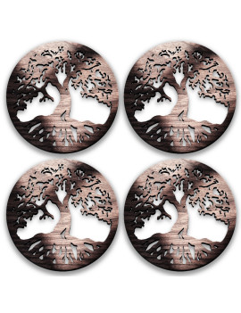 4-Pcs Set Dragonfly Origianl Gift Men Women 2021 - Coasters or Candle holders or Hanging ornaments - Black Walnut Wood - Hand finish – Made in Quebec