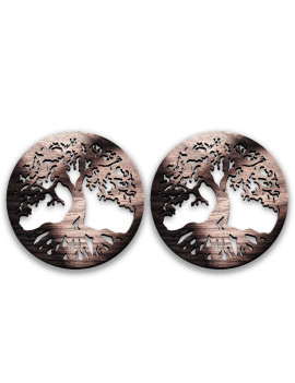 2-Pcs Set Dragonfly Origianl Gift Men Women 2021 - Coasters or Candle holders or Hanging ornaments - Black Walnut Wood - Hand finish – Made in Quebec