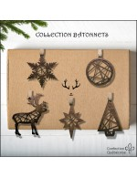 5 pcs Contour Style Collection - 2021 Decorative Ornament Gift - Black Walnut Wood - Made in Canada