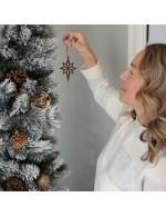 2021 Ornament Gift - The Bethlehem Star - Diamond Style - Black Walnut Wood - Made in Canada