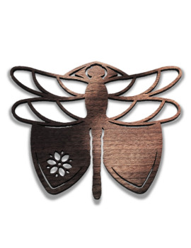 1-Pc Set Dragonfly Origianl Gift Men Women 2021 - Coasters or Candle holders or Hanging ornaments - Black Walnut Wood - Hand finish – Made in Quebec