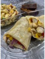 Lunch box sandwich, salad, dessert